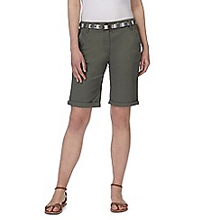 Maine New England - Khaki belted chino shorts