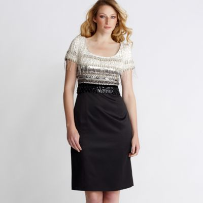 Black and ivory embellished shift dress