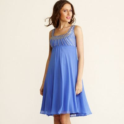 Light blue stud embellished babydoll dress