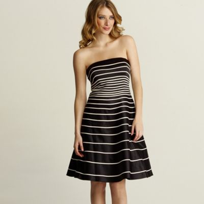 Black and white stripe prom dress
