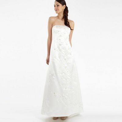 Ivory embroidered A-line wedding dress