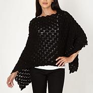 Black pointelle petal knit poncho