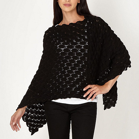 The Collection - Black pointelle petal knit poncho