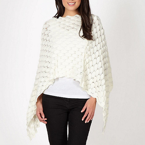 The Collection - White pointelle petal knit poncho