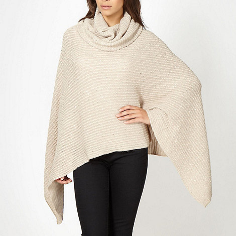 The Collection - Natural sequinned knitted poncho
