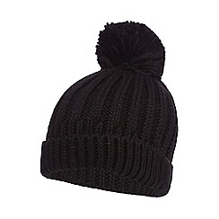 Red Herring - Black knitted pom pom hat