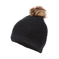 Red Herring - Black faux fur pom pom hat