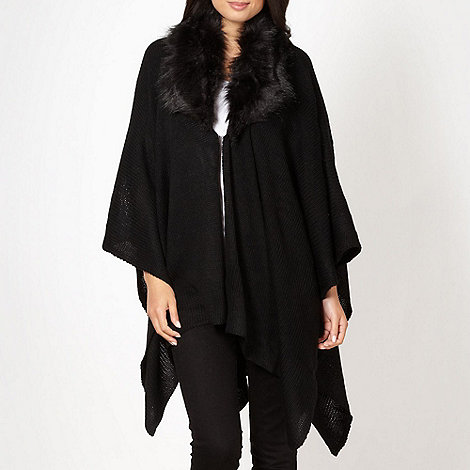 The Collection - Black fur collar wrap