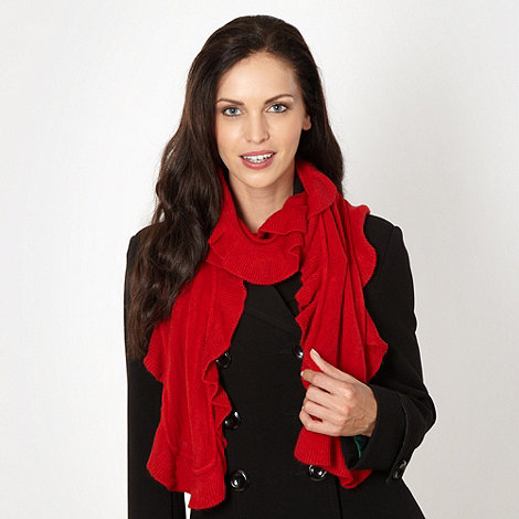 The Collection - Red ruffle trim scarf