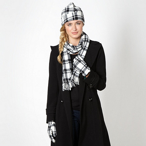 The Collection - Ivory checked fleece scarf and gloves