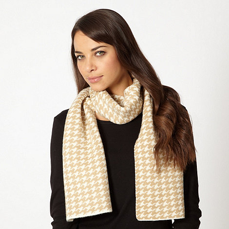The Collection - Cream knitted dogtooth scarf and gloves set