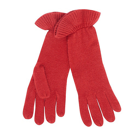 The Collection - Red ruffle cuff knitted gloves