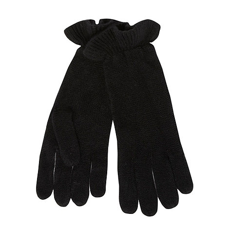 The Collection - Black ruffle cuff knitted gloves