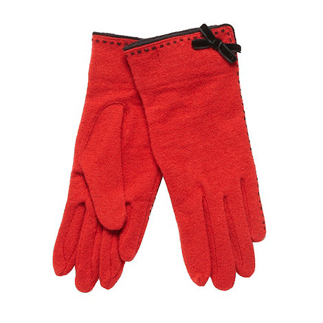 The Collection - Red contrast stitched gloves