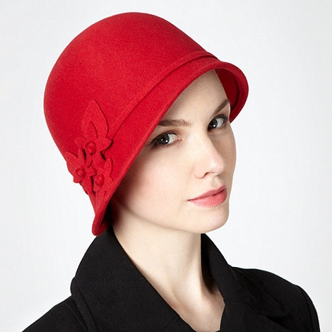 The Collection - Red applique flower cloche hat