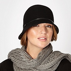 The Collection - Black bow trim wool cloche hat