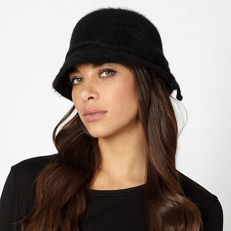The Collection - Black fluffy cloche hat