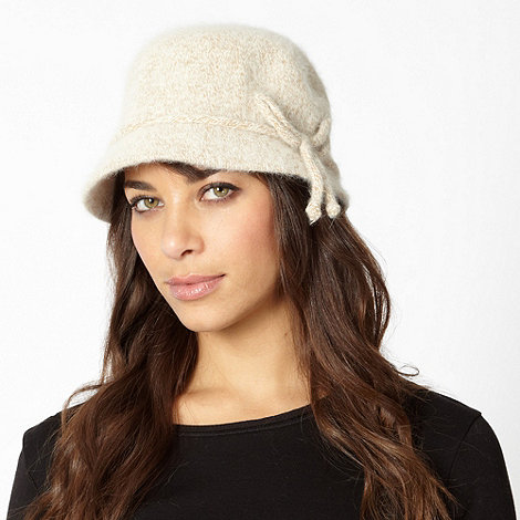 The Collection - Natural fluffy cloche hat