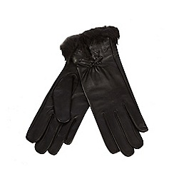 J by Jasper Conran - Black leather faux fur trim gloves