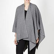 Designer black chevron knit wrap