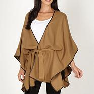 Designer camel piped edge wrap cardigan