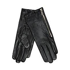 J by Jasper Conran - Black leather side zip gloves