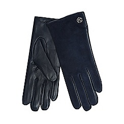 J by Jasper Conran - Navy leather and suede turn lock gloves