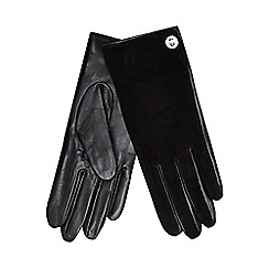 J by Jasper Conran - Black leather and suede turn lock gloves