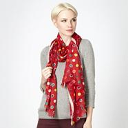 Designer red bright spotted scarf