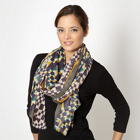Principles by Ben de Lisi - Designer green mixed geometric scarf