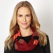 Designer red striped fine knit snood