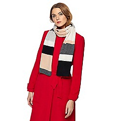J by Jasper Conran - Natural stripe cashmere-blend scarf