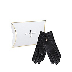 J by Jasper Conran - Black leather branded strap gloves in a gift box