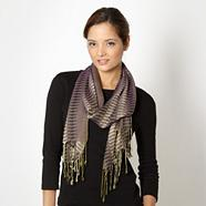Designer purple jacquard striped scarf