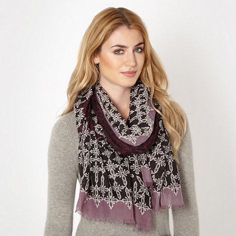 Betty Jackson.Black - Designer purple damask scarf