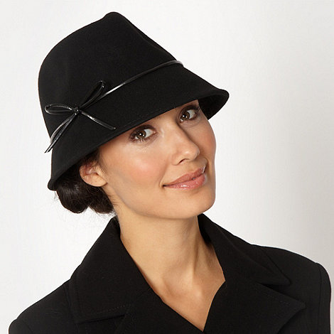 Betty Jackson.Black - Designer black wool trilby hat
