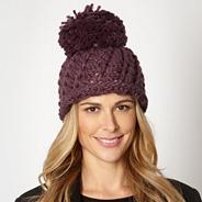 Designer purple open weave beanie hat