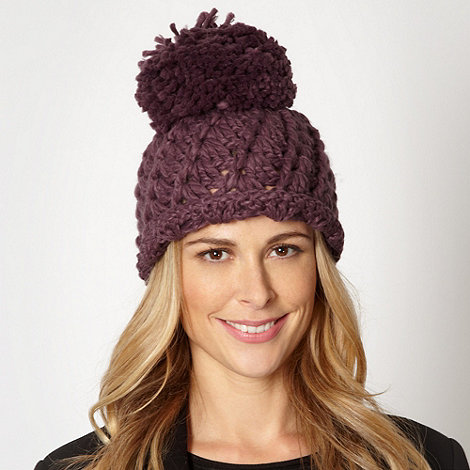 Betty Jackson.Black - Designer purple open weave beanie hat
