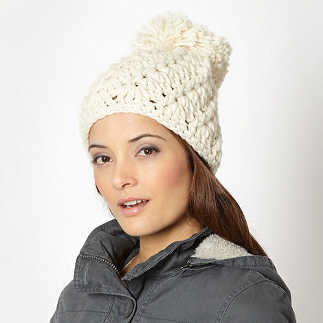 Betty Jackson.Black - Designer natural open weave beanie hat