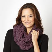 Designer purple open weave snood