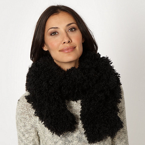 Betty Jackson.Black - Designer black faux fur scarf