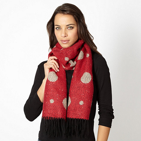 Betty Jackson.Black - Designer red spotted boucle scarf