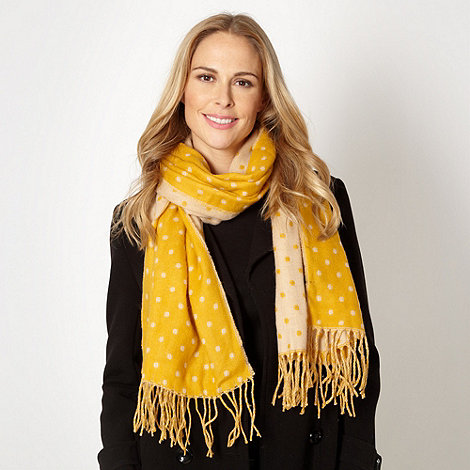 Betty Jackson.Black - Designer yellow jacquard polka dot scarf