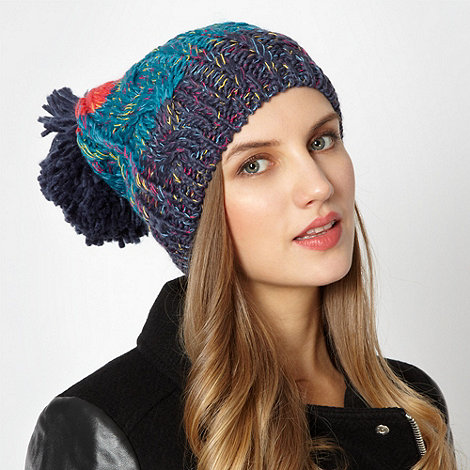 H! by Henry Holland - Designer colour block knitted pom pom hat