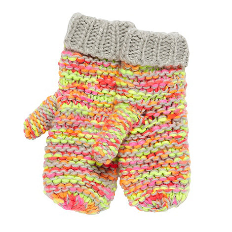 H! by Henry Holland - Designer light grey space dye neon mittens