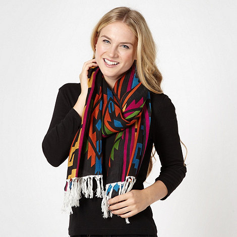 H! by Henry Holland - Designer black bright aztec scarf