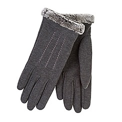 Totes - Grey thermal gloves with faux fur cuff and stitching
