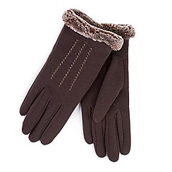 Totes - Brown thermal gloves with faux fur cuff and stitching