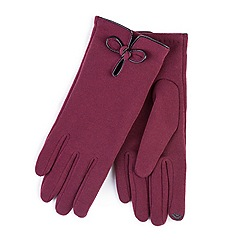 Totes - Dark red smart-touch bow detail gloves