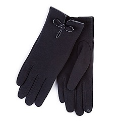 Totes - Black smart-touch bow detail gloves